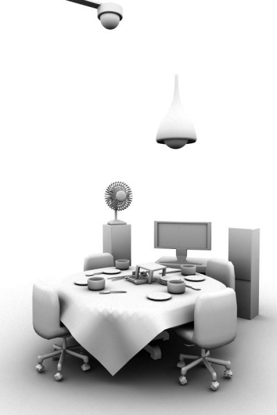 singapore dining 3d maya model